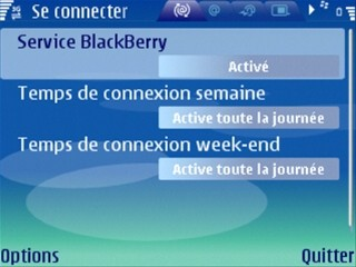 Aperçu de l'application Blackberry Connect