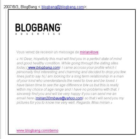 Miriam4love : le spam BlogBang