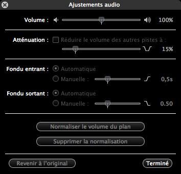 Gestion des fondus audio sous iMovie