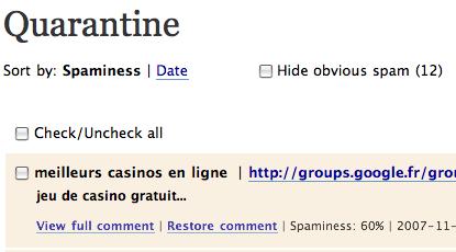 Spam sur WordPress en Français