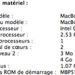 Configuration du Macbook Pro V5.5 de Gonzague