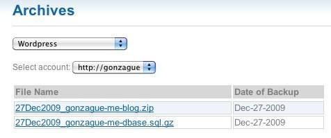 WordPress dans Backupify