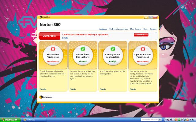 Norton 2008 : interface principale