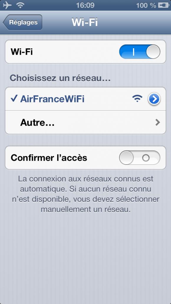 AF - iPhone connecté au Wifi dans un avion Air France