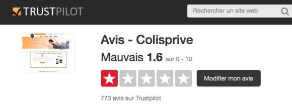 Colis Privé - Notes TrustPilot