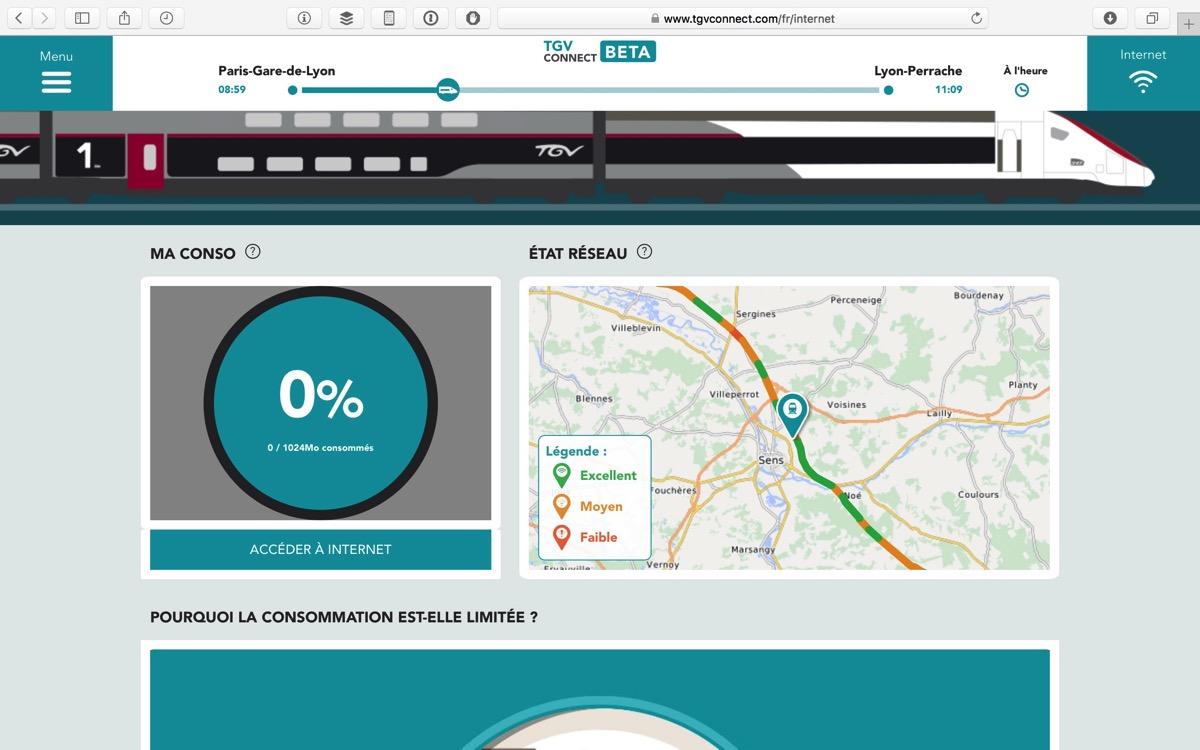 TGV Connect Consommation et Etat reseau