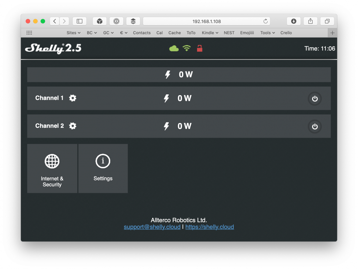 Interface web Shelly